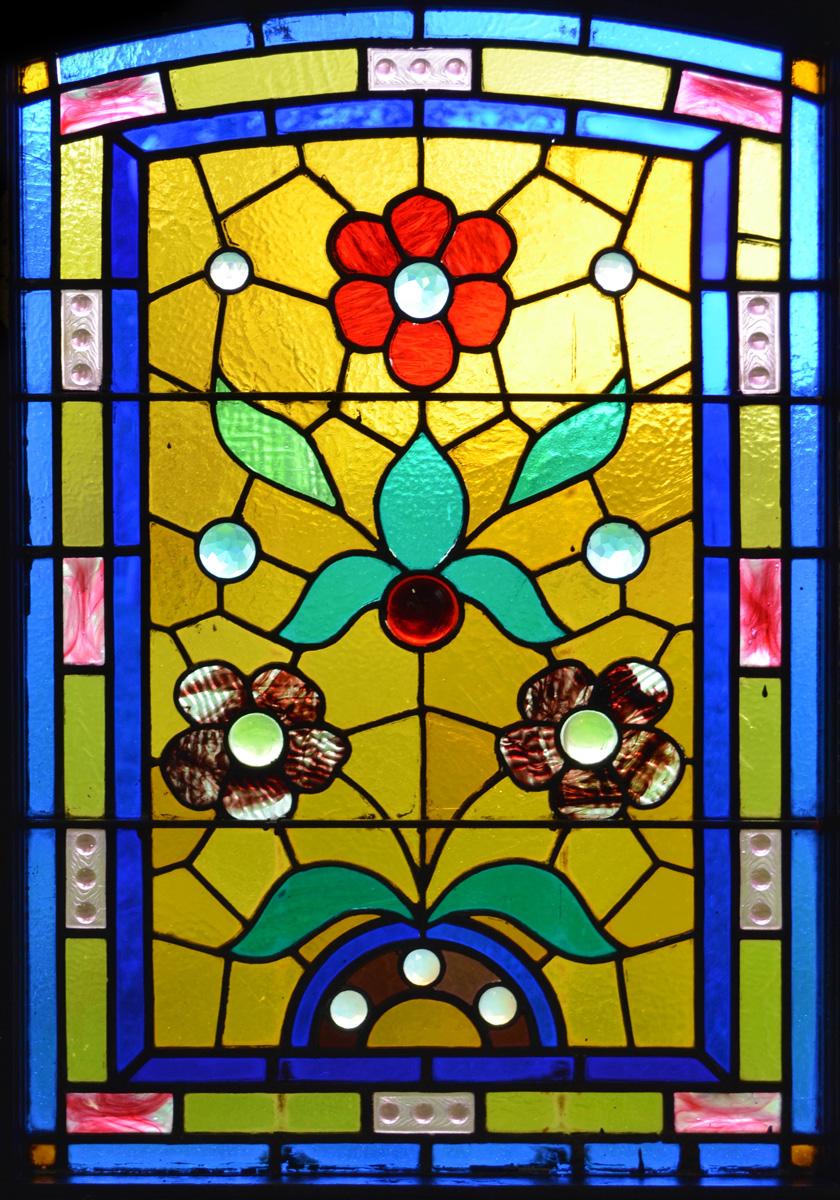glas-in-lood-raamfolie-bloemen - WindowDeco