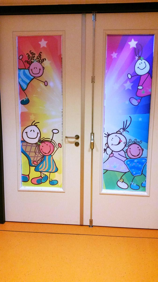deur, raamfolie, bedrukt, school