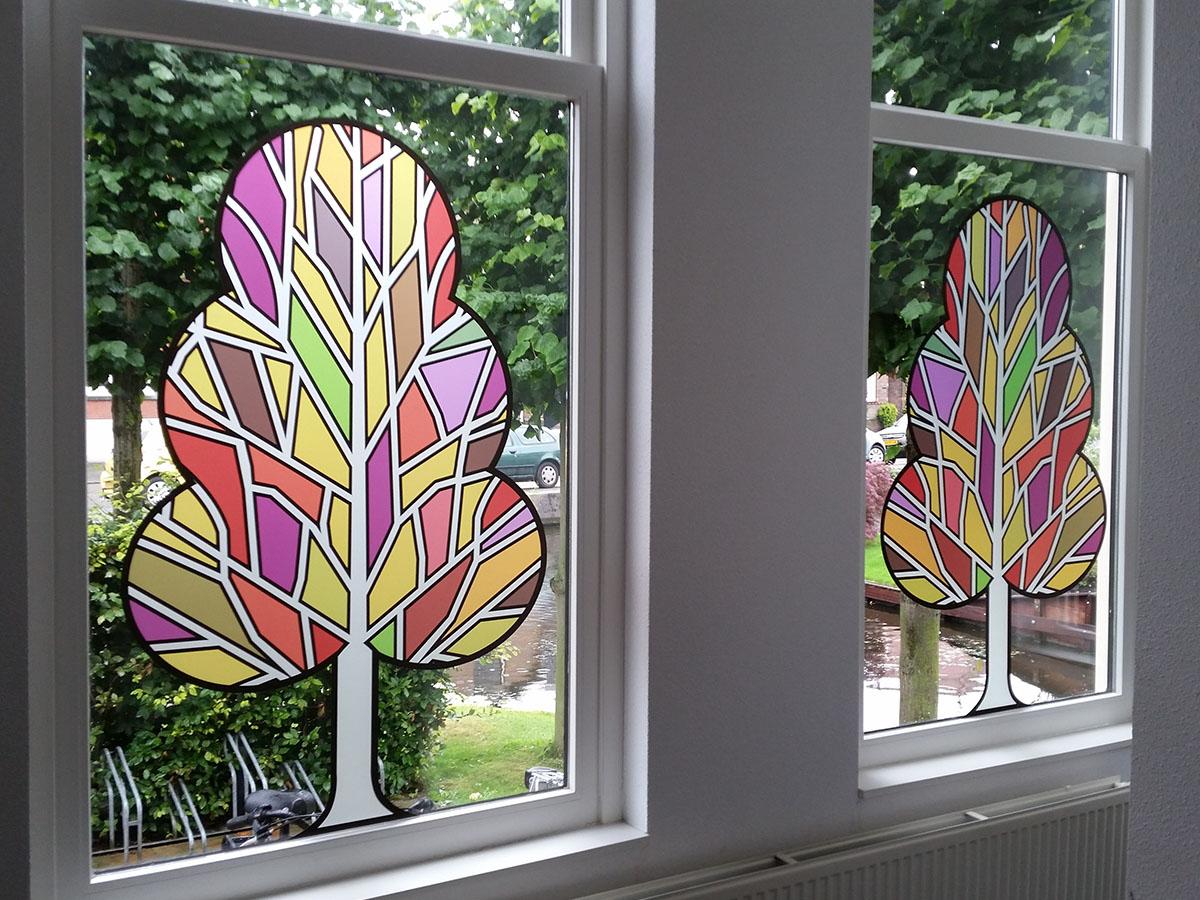Bedrukte glasfolie (2) boom, vormgesneden, modern, kunst